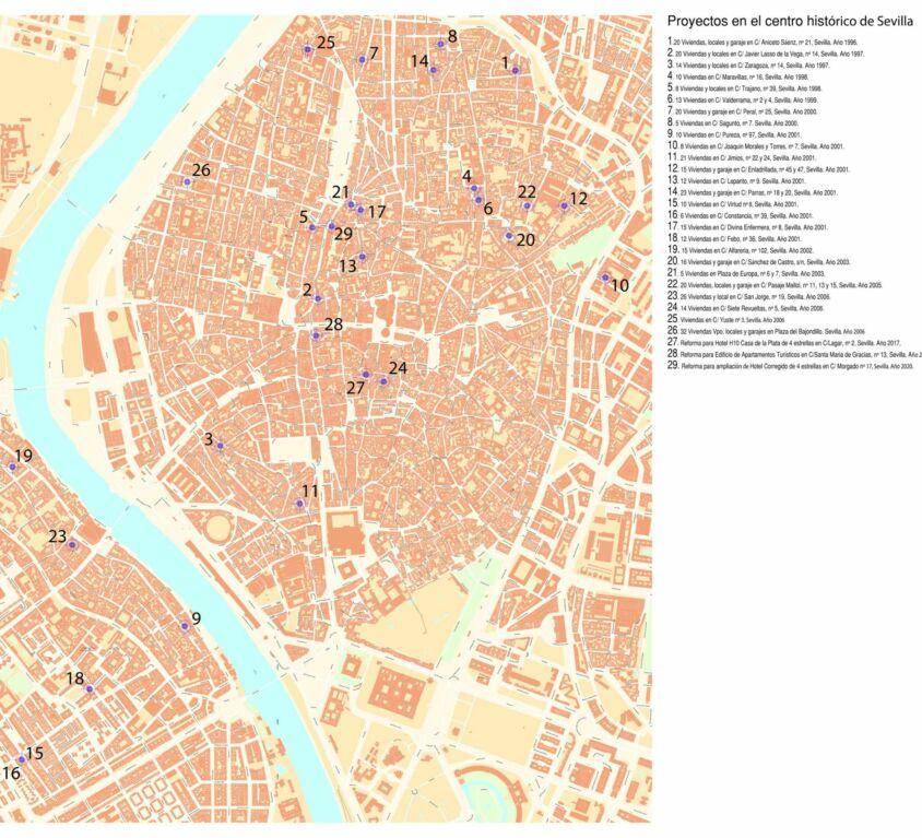 Proyectos en el centro histórico de Sevilla